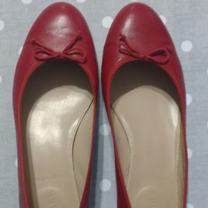 J. Crew red leather ballet flats size 8.5